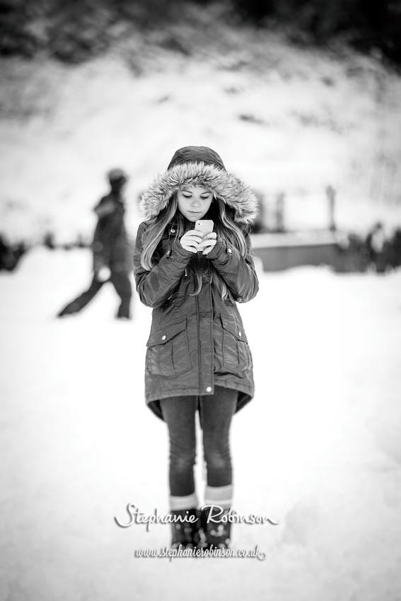 iPhone girl in snow