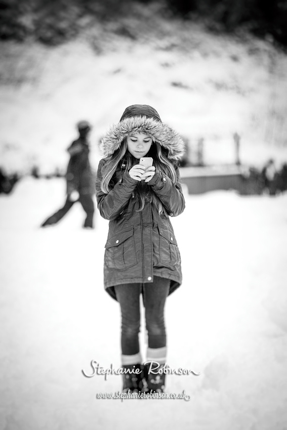 iPhone girl in snow